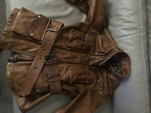 belstaff leather brown ladies fitted belted jacket size 42