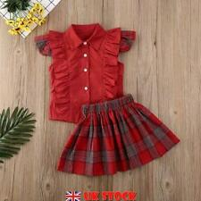 UK 2PCS Toddler Kids Baby Girl Dress Outfits Tops Shirt Bow Short Skirt Clothes