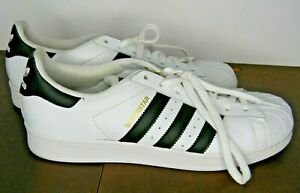 Men's Adidas Sneakers Superstar Size 9.5 M White Leather Black Stripe Shell Toe
