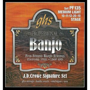 GHS J.D. Crowe Signature 5 String Banjo Medium Light Strings