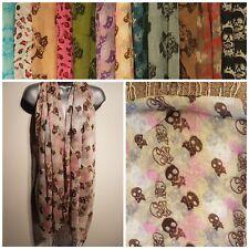 Damas Bufanda Chal Envolvente Pashmina Calavera impresa Marca Nueva Crema Rosa con Borlas de gran tamaño