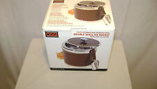 NEW Oggi Brown Double Wall Faux Leather Ice Bucket W/ Lid and Scoop