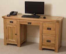 Cottage Solid Oak Wood PC Computer Desk Wooden Home Office Workstation Furniture
