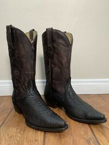 Men's Corral Python Snakeskin Boots Black Genuine Handcrafted C3552 Size 8