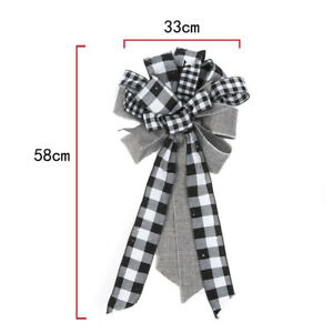 Christmas Tree Bow Ornaments Decor Tree Topper Plaid Bow-knot Christmas Party