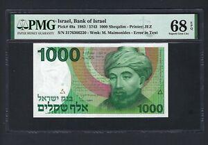 Israel 1000 Sheqalim 1983/5743 P49a Uncirculated Graded 68 Top Pop