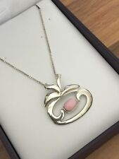 """Beautiful 16.25"""" Marked Sterling Silver & Coral Apple Shape Necklace 5.22gr"""