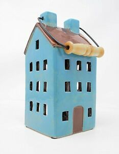 Ceramic Turquoise and Brown Village Cottage House Home Pottery Candle Tea light