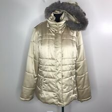 Weather Tamer Womens Champagne Quilted Puffer Jacket Faux Fur-Trim Size Large