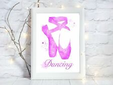 dancing dancer ballet Watercolor a4 glossy Print nursery picture gift 2 unframed