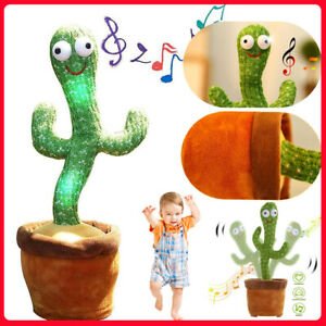 Dancing Recording Cactus Plush Kids Toy Singing Moving Spining Party Home Decor