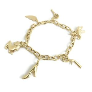 Vintage Elephant Tennis Dog Shoe Charm Bracelet in 18K Yellow Gold, 12.71 Grams
