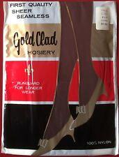 Vintage Gold Clad Nylon Stockings Size 8.5-9 Coffee 15 Denier 400 Needle