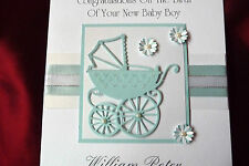 Personalised HandmadeA5  New Baby Card Blue Boy Son Grandson Brother(1538Blue)