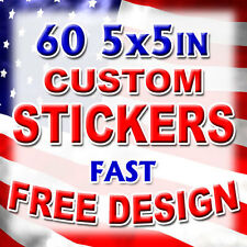 60 5x5 Custom Printed Full Color Outdoor Vinyl Car Bumper Sticker Decal Die Cut