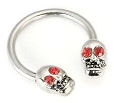 """Horseshoe Nipple Ear 14 Gauge 1/2"""" w/Skulls Red Eyes 5mm Steel Body Jewelry"""