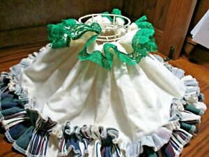 Vintage HURRICANE Chimney Wire Frame Lamp Shade w/Ruffled Skirt Cover       517