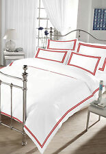 100% Cotton Sateen Single Bed Size Embroidered Duvet Cover Set Red and White