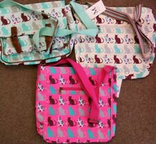 3 BNWT Oil cloth canvas Cats Print Cross Body Shoulder Overnight Bag Blue cream