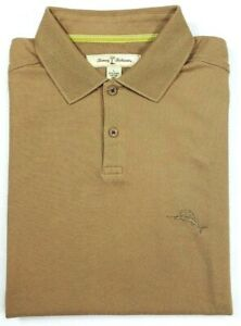 Tommy Bahama Mens L SS Pima Cotton 3 Button Polo Shirt Beige Embroidered Logo