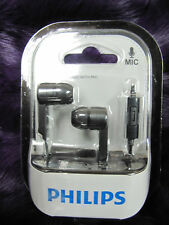 2 x Philips SHE1405BK in-Ear Headphone Headset With Mic Lot of 2