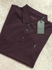 """ALL SAINTS MEN'S DEEP RED """"HOUSTON"""" S/S LOGO POLO SHIRT TOP - SMALL - NEW & TAGS"""