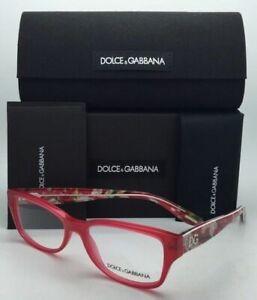 New DOLCE & GABBANA Eyeglasses DG 3204 2850 Pink & Red Frames with Floral Design