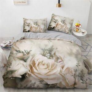 3D Rose Bedding Set Custom King Size 3PCS Duvet Cover Set Quilt Pillow Case