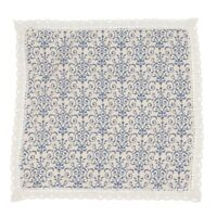 Retro Blue and White Table Cloth with Lace Cotton & Linen Print Chinese Sty R1L8