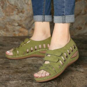 Womens Orthopedic Wedge Heel Slip On Open Toe Mules Ladies Summer Sandals Shoes