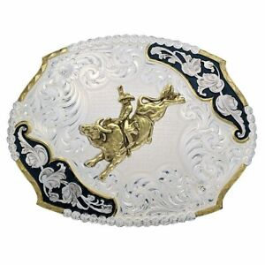 MONTANA SILVERSMITHS ANTIQUE LEAVES BULL RIDER - ACC BUCKLE - 3810-528-BK