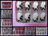 24x FASHION FALSE FULL FRENCH NAILS TIPS ANIMAL ZEBRA LEOPARD PRINT UK SELLER