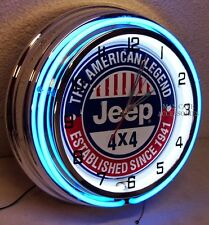 """18"""" JEEP 4x4 The American Legend Established Since 1941 Sign Double Neon Clock"""