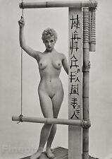 1950's Vintage FEMALE NUDE Japan Bamboo Asian Photo Litho Fine Art, ZOLTAN GLASS