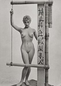 1950s Vintage ZOLTAN GLASS Female Nude Woman Bamboo Asian Photo Litho Fine Art