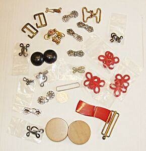 *ANTIQUE VINTAGE COLLECTION OF 17 HOOK & EYES 3 DECO BELT CLOSURES OTHER NOTIONS