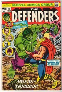 MARVEL Comics DEFENDERS Hulk V THOR Classic cover   #10 1972 VFN+ 8.5