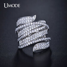 Vivid Ring Unique Shaped White Gold Plated CZ Stone Paved Cocktail Fashion Rings