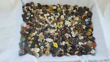 Vtg Antique Collectible Unique Button Sewing Lot Mother Of Pearl Leather Wood
