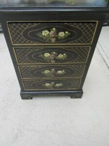 Vintage Asian Oriental Hand Painted Side Accent Table Black
