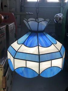 """Tiffany Style Vintage Hanging  Lamp BLUE Stained SLAG Glass Light Chandelier 15"""""""