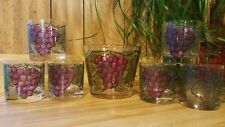 Vintage Georges Briard Glass Ice Bucket & 6 Glasses Purple Grapes Signed 4.75""