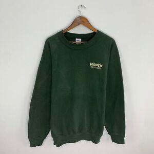 Vintage Gildan Pomp's Tire Embroidered Logo Green L/S Crewneck Sweatshirt Large