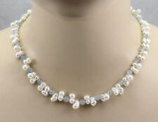 Perlenkette mit Aquamarin für Damen in 46,5 cm Länge von Gemini Gemstones