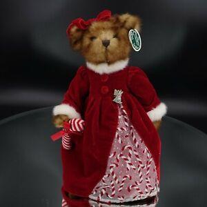 "The Bearington Collection Christmas Plush Bear Red Velvet Candy Cane Dress 16"""