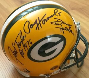 Paul Hornung Jim Taylor Donny Anderson signed 1966 Packers FS game model helmet