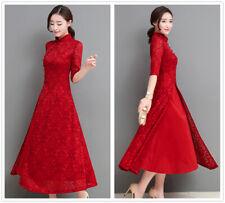 Elegant Ao Dai Lace Short Sleeves A-Line Women's Slim Long Dress Cheongsam S-3XL
