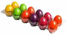 12 X Mano Percussion Maracas Egg Shakers 6 Colours Yellow Purple Green