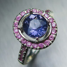1.20ct Natural Purple blue Iolite & sapphire sterling 925 silver engagement ring