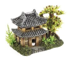 ✔ 3066 Oriental Pagoda House & Tree Ornament Fish Tank Aquarium Decoration ✔
